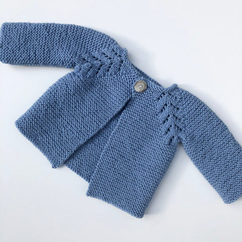 Knitted Wool Baby Cardigan / Blue