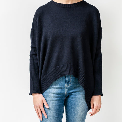 Pure Merino Boxy Crop Knit / French Navy