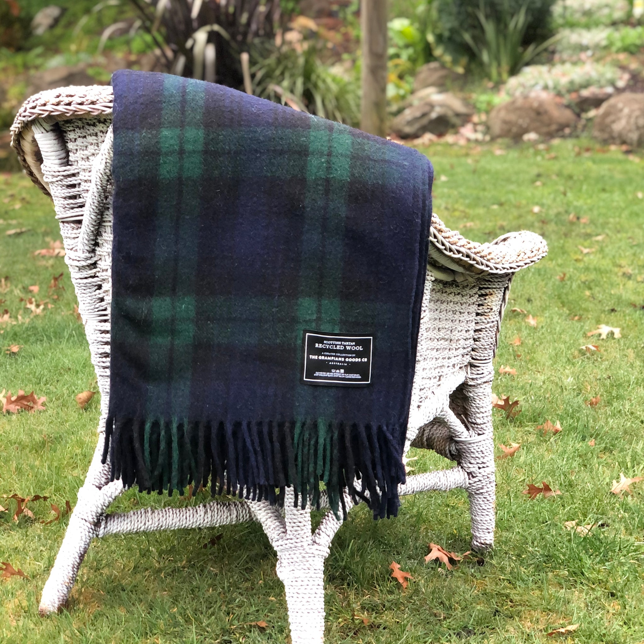 Wool Scottish Tartan Blanket / Forest