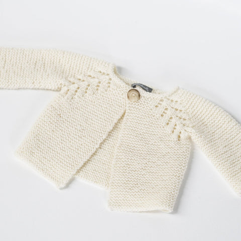 Knitted Wool Baby Cardigan / Ivory