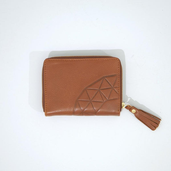 Ash Embossed Zip Wallet / Tan