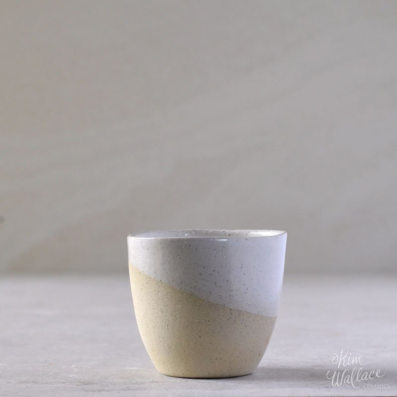 Handmade Espresso Cup / White on Stone