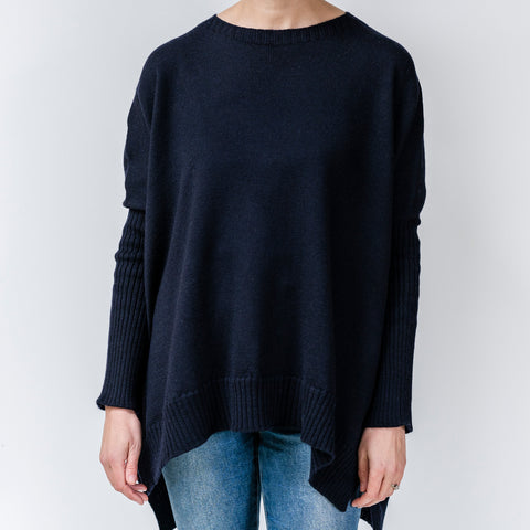 Pure Merino Boxy Split Knit / French Navy