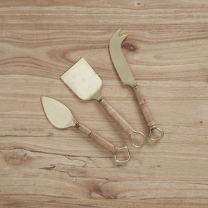Thalia Rattan Handle Cheese Set