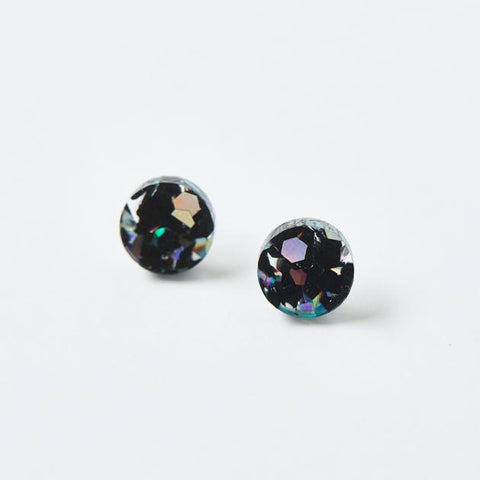Mini Circle Stud Earrings / Black Cosmos
