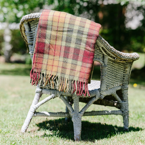 Wool Scottish Tartan Blanket / Maple Moss