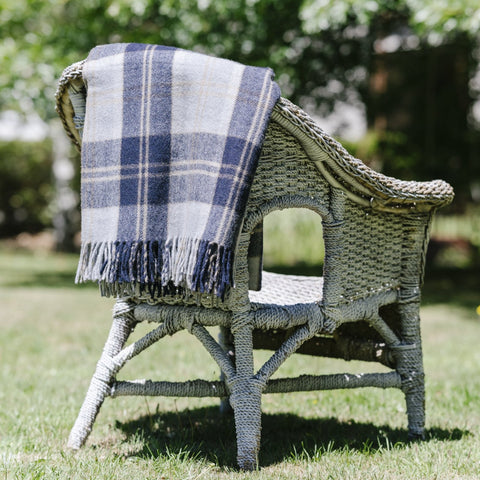 Wool Scottish Tartan Blanket / Navy