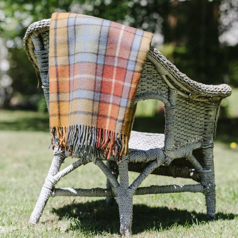 Wool Scottish Tartan Blanket / Autumn