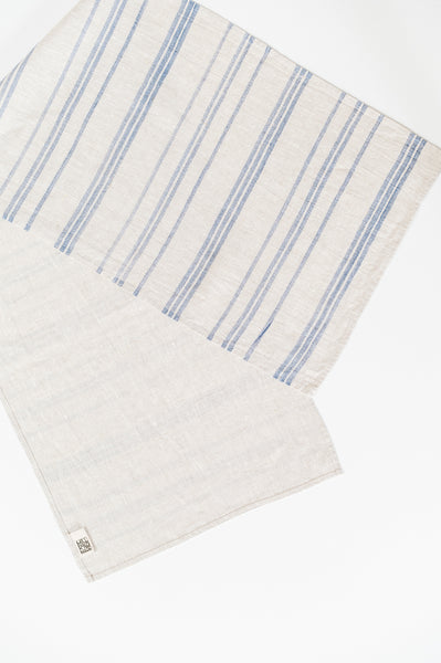 Hand Print Table Runner / Indigo Stripe