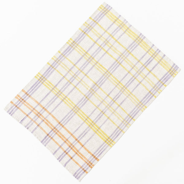 Hand Print Tea Towel / Autumn Bloom Check
