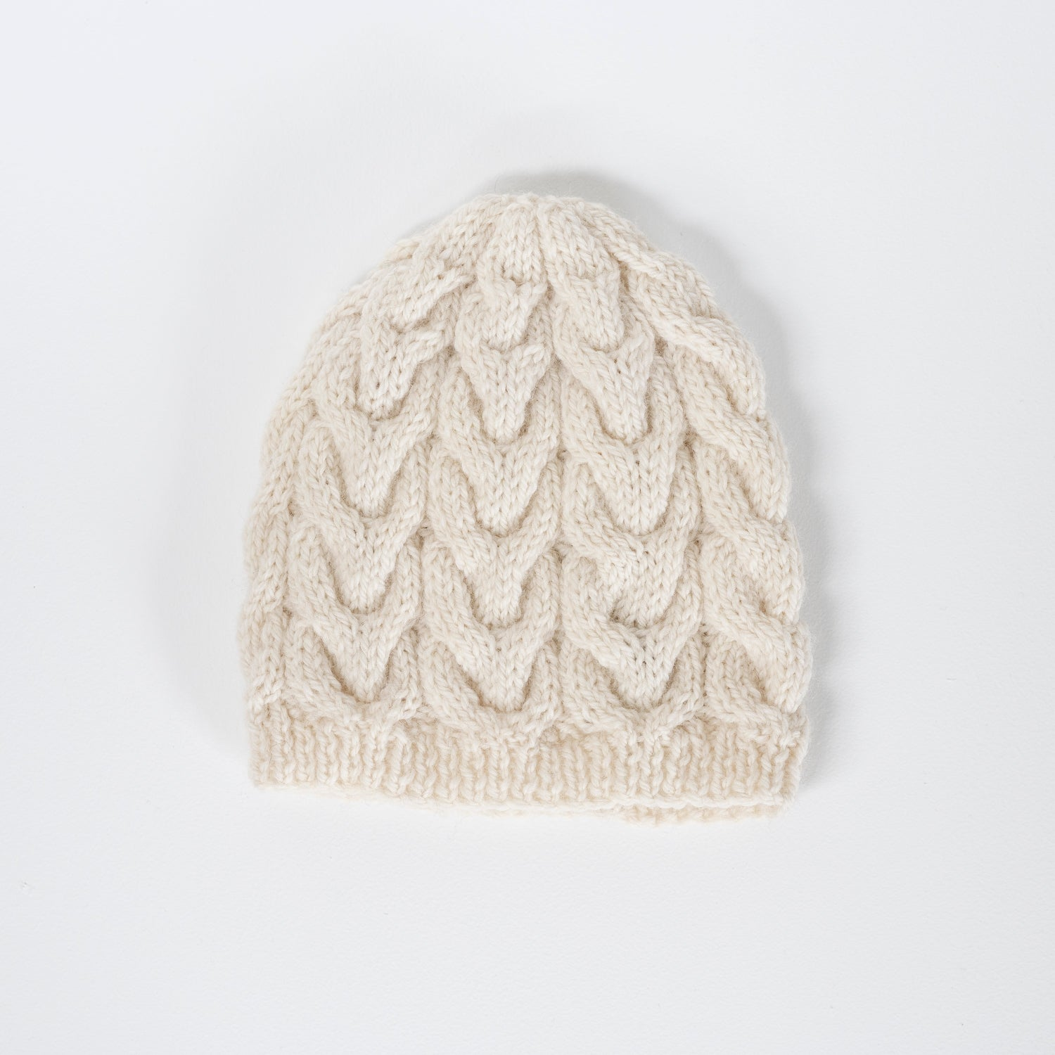 Knitted Wool Beanie / Cream