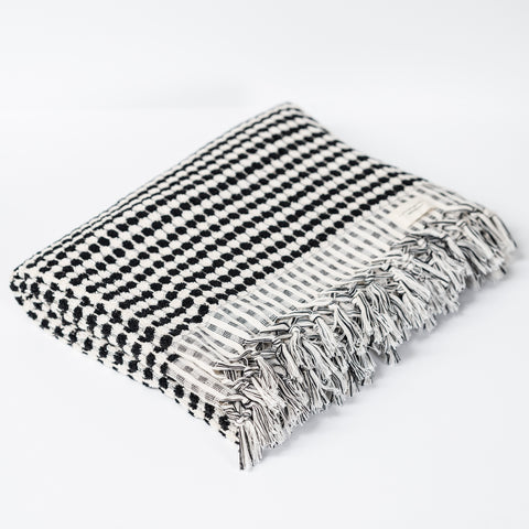 Turkish Bath Towel / Black & White