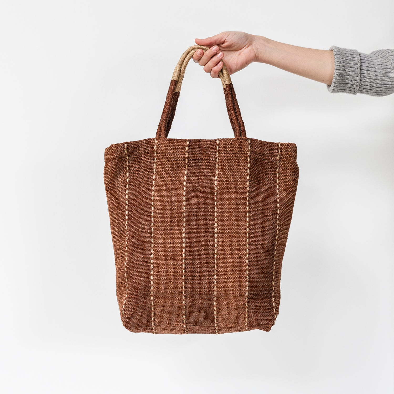 Stripe Jute Shopper / Tannin