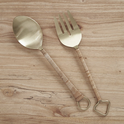 Thalia Rattan Handle Salad Servers
