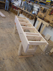 Bench in progress