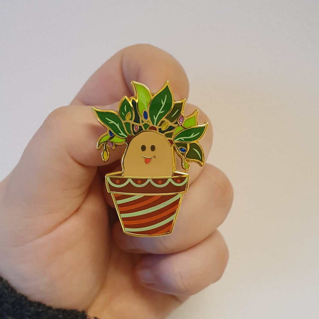 Xmas Screaming Plant Enamel Pin
