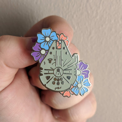 Floral Smugglers Falcon Pin