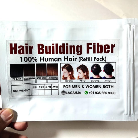 Refill pack of Hair Building Fibers  ( 100% Human Hair ) - LAGAH Hair Products