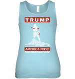 Apparel Bella Women's Fitted Tank / Baby Blue / S Trump America First PT170502