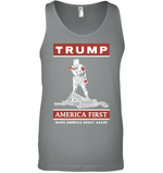 Apparel Canvas Unisex Ringspun Tank / Deep Heather / XS Trump America First PT170502