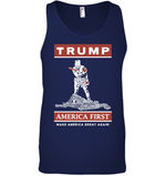 Apparel Canvas Unisex Ringspun Tank / Navy / XS Trump America First PT170502