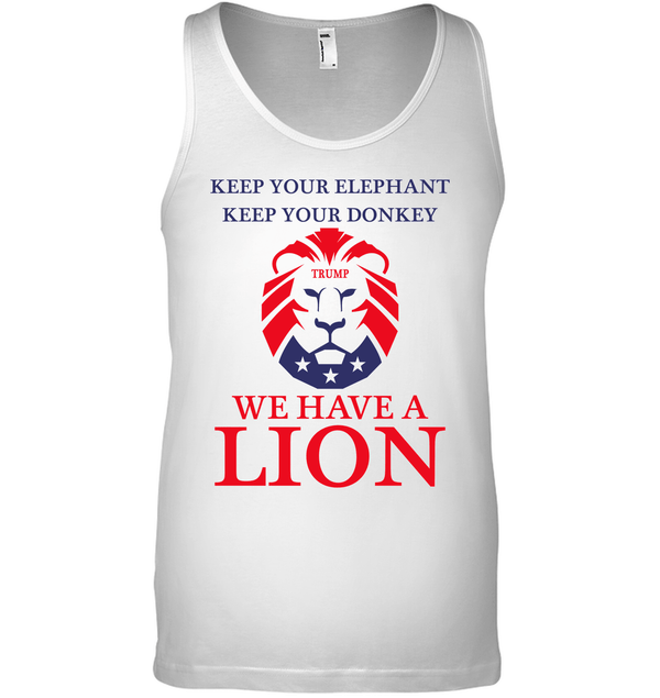 Apparel Canvas Unisex Ringspun Tank / White / XS Trump We Have A Lion PL005