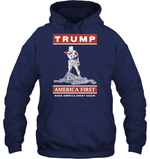 Apparel Unisex Heavyweight Pullover Hoodie / Navy / S Trump America First PT170502