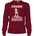 Apparel Unisex Long Sleeve Classic Tee / Cardinal Red / S Trump America First PT170502