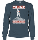 Apparel Unisex Long Sleeve Classic Tee / Dark Heather / S Trump America First PT170502