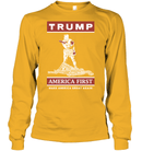 Apparel Unisex Long Sleeve Classic Tee / Gold / S Trump America First PT170502