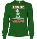 Apparel Unisex Long Sleeve Classic Tee / Irish Green / S Trump America First PT170502