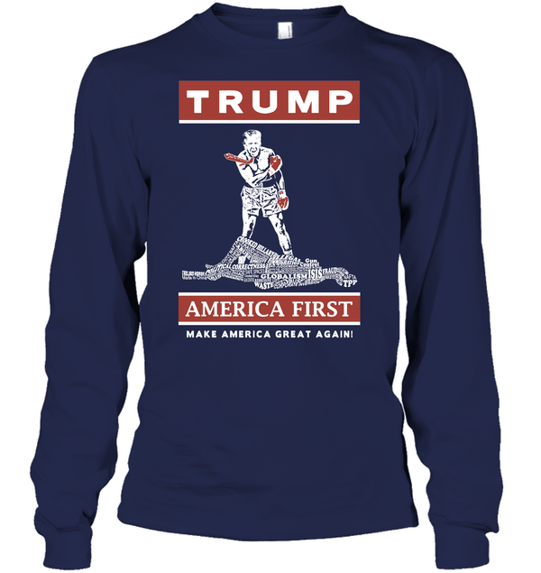 Apparel Unisex Long Sleeve Classic Tee / Navy / S Trump America First PT170502