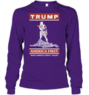 Apparel Unisex Long Sleeve Classic Tee / Purple / S Trump America First PT170502