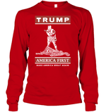 Apparel Unisex Long Sleeve Classic Tee / Red / S Trump America First PT170502