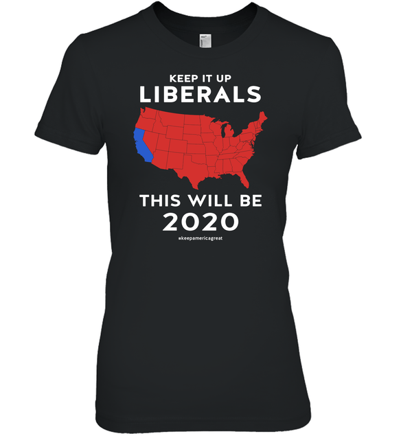 Apparel Womens Relaxed Fit Tee / Black / S Keep It Up Liberals PL002