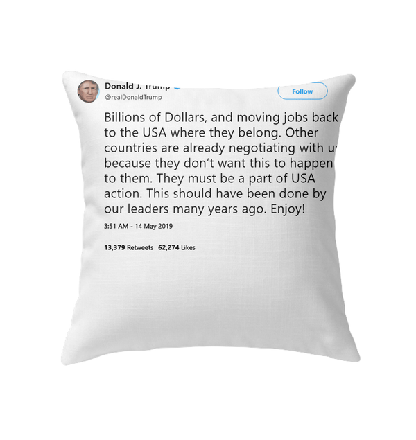 Pillows Indoor Pillow 16 x 16 / White Trump Quote Twitter PT170504