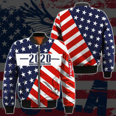 Shirts S / Bomber Jacket Maga- Keep American Great Again-Trump Flag 2020