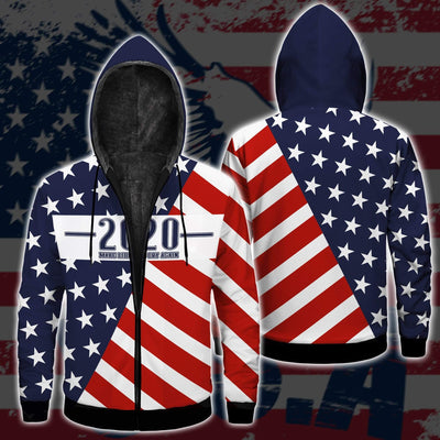 Shirts S / Fleece Jacket Maga- Keep American Great Again-Trump Flag 2020