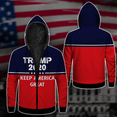 Shirts S / Fleece Jacket Maga Redline Trump Flag 2020