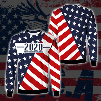 Shirts S / Sweater Maga- Keep American Great Again-Trump Flag 2020