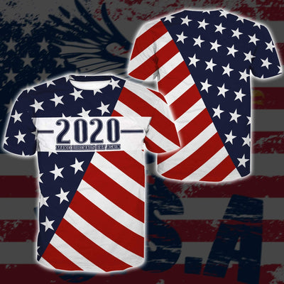 Shirts S / T-shirt Maga- Keep American Great Again-Trump Flag 2020