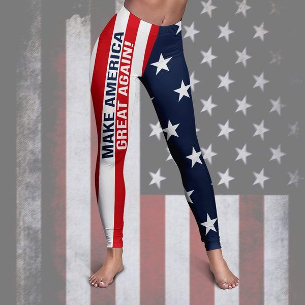 Summer Outfits S / Leggings Maga- Keep American Great Again- Donald Trump 2020 Summer Outfit