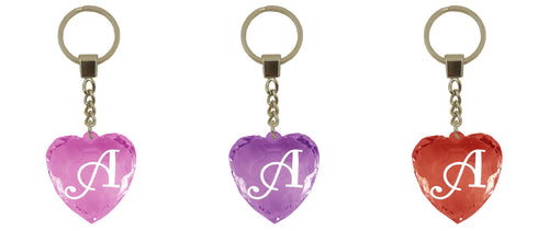 HK031-HK125 Diamond Heart Keyrings - Names and Letters