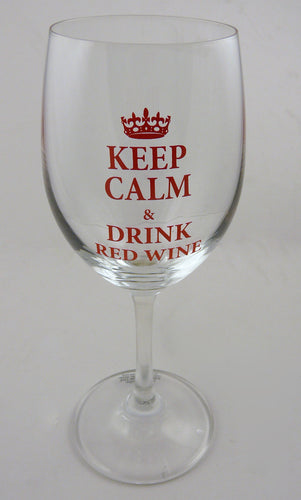 KC102 - Keep Calm & Carry On Red Wine Glass