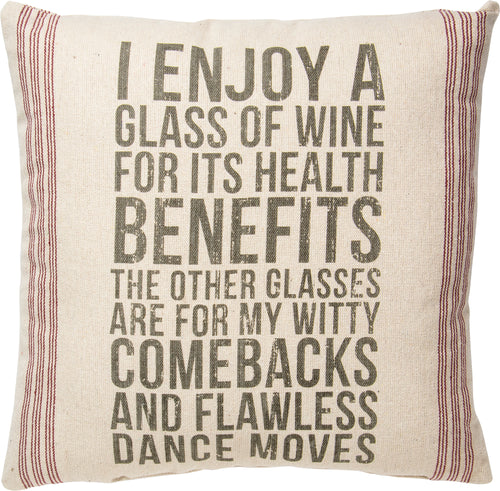 PKC258 - Enjoy Glass Of Wine Cushion 20''