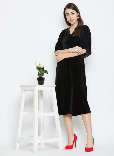 A velvet a line dress in black for womne