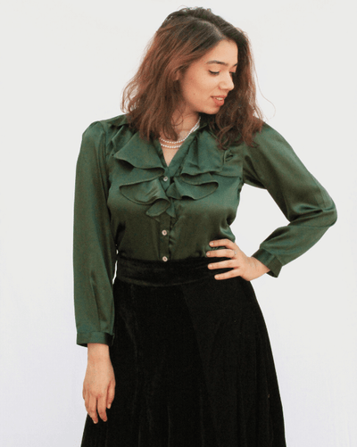 Emerald Frilled Blouse With Velvet Skirt
