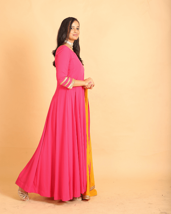 Pink Anarkali With Mustard Dupatta - Set of 3