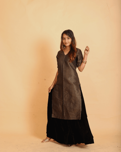 Black On Black Kurta Skirt - Set of 2