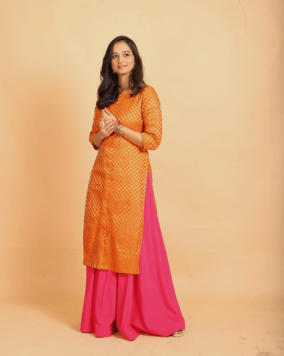 Orange Brocade Kurta With Pink Skirt - Set of 2